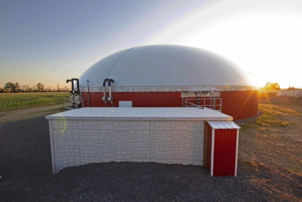 Digester installed by DLS Biogas with a DLS technical container, agitation nozzle, observation window and over/under pressure units pictured